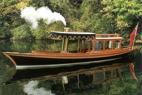 Wisp; a 30ft coal fired steam launch built 1908. Restored by Peter Freebody. This lovley boat has everything going for it: polished wood, graceful lines and a steam engine.