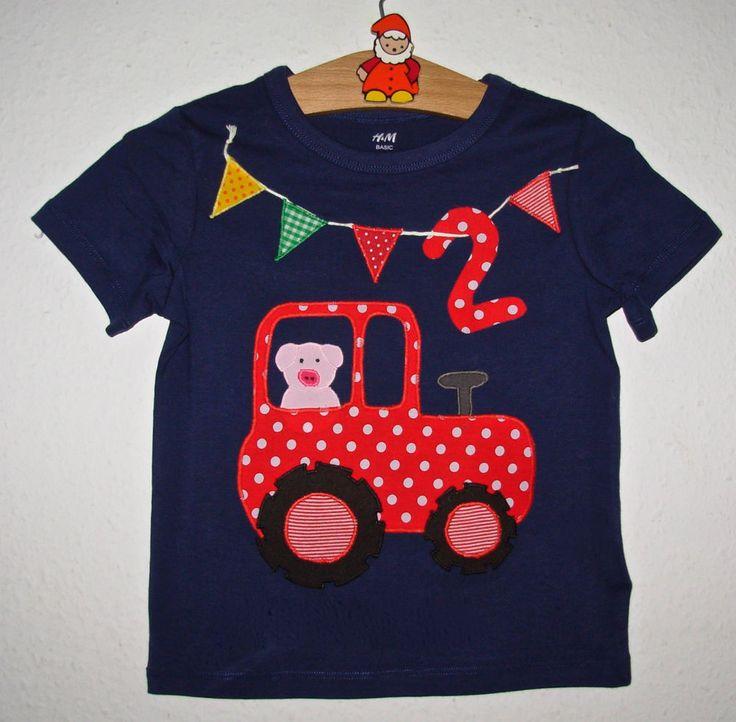 Unikat: Einzigartiges Geburtstags-Shirt mit Applikation *TRAKTOR*, Gr.98/104 BIO