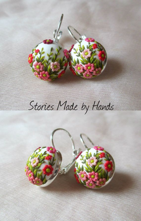 Spring in Winter Polymer Clay Earrings White by StoriesMadeByHands