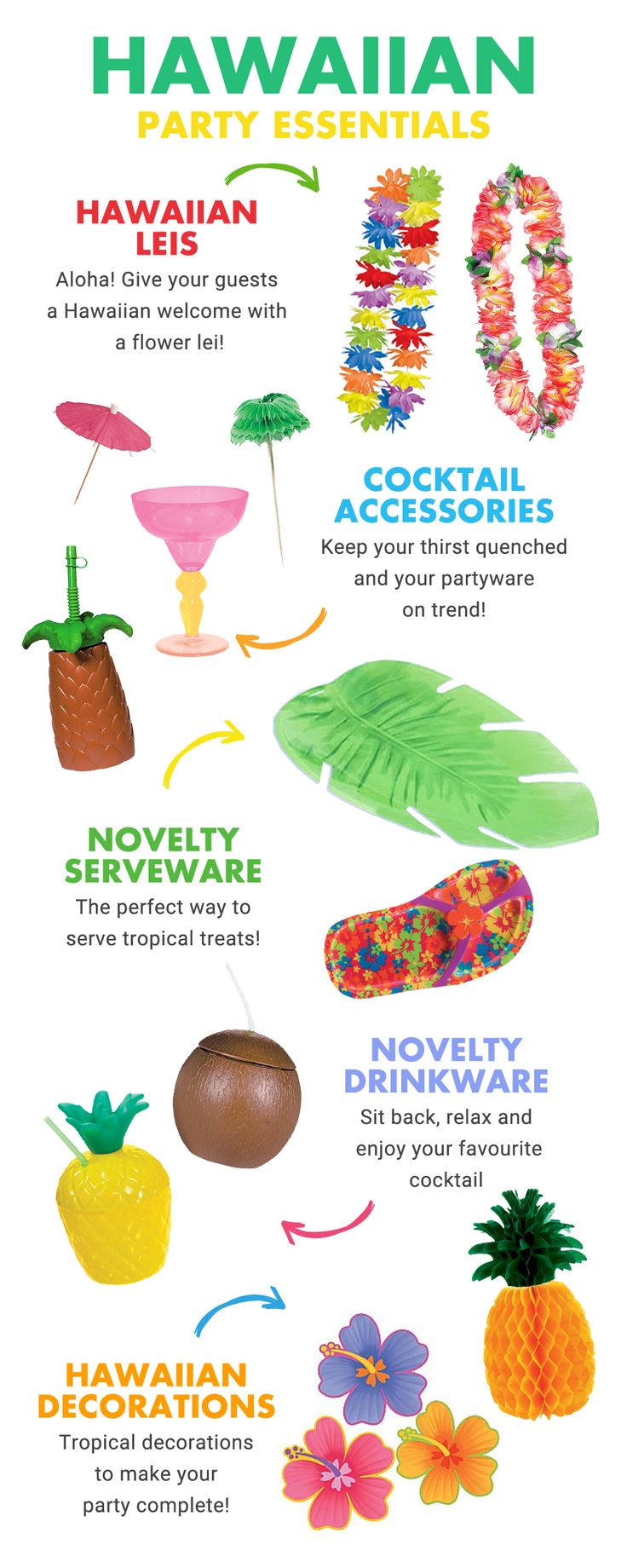Looking for inspiration for a Hawaiian party theme? Pick up all the Hawaiian party essentials you need for a tiki-tastic summer party on partydelights.co.uk including leis, pineapple cups, Hawaiian party decorations and more!