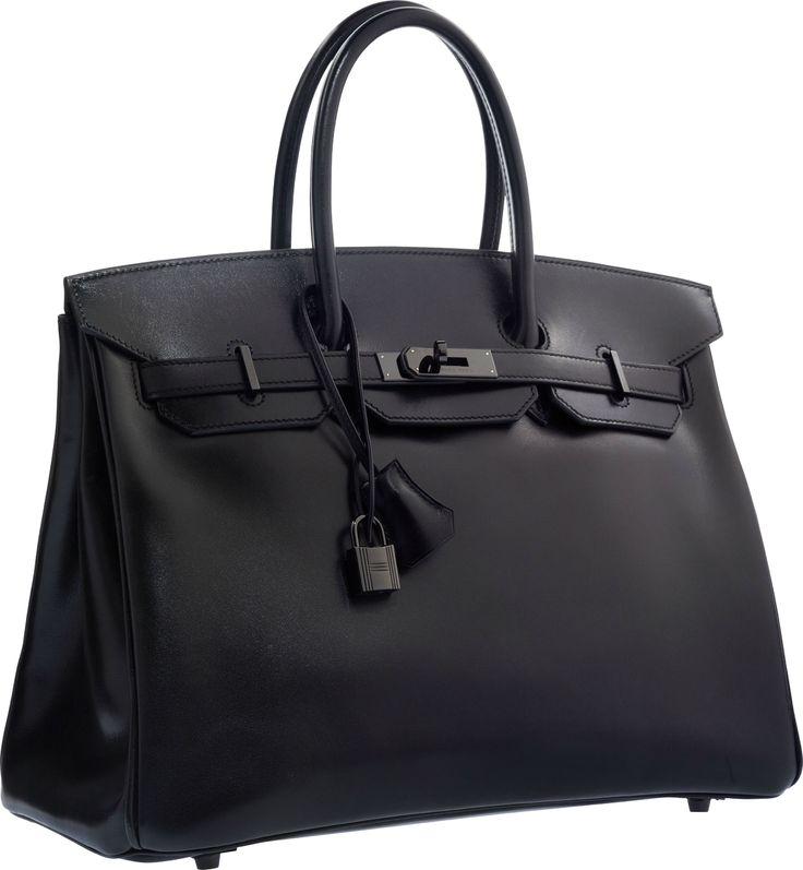 Hermès Limited Edition 35cm So Black Calf Box Leather Birkin Bag with PVD Hardware.
