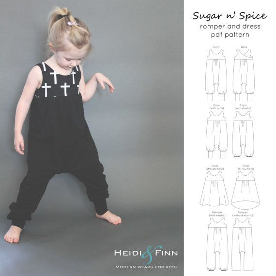 Sugar n' Spice romper and dress PDF pattern and door heidiandfinn