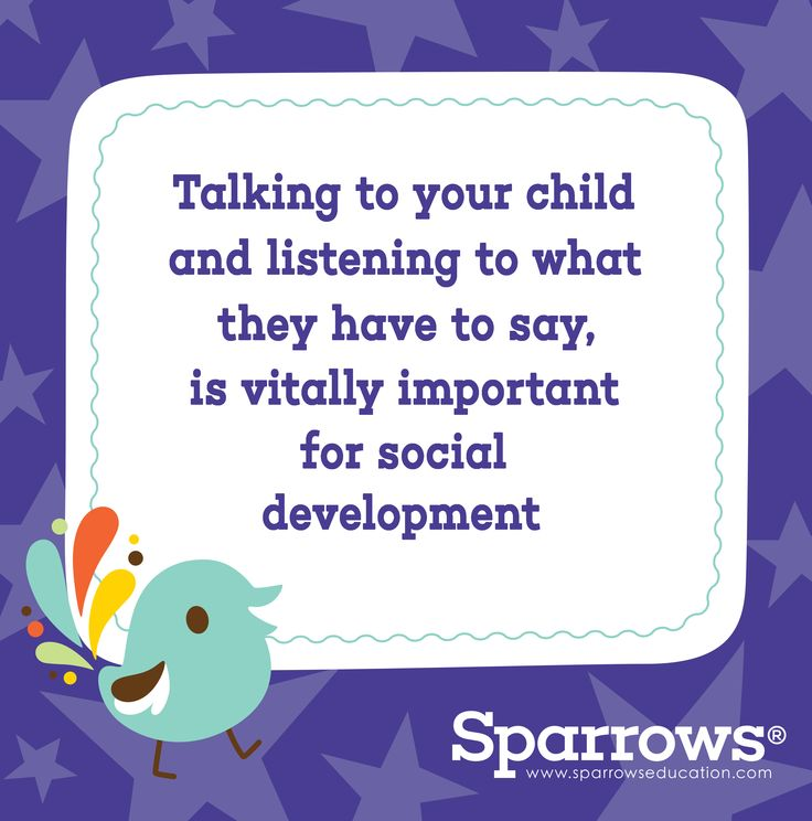 """""""Talking to your child and listening to what they have to say is vitally important for social development. Talk to them about different topics and give them time to share their opinion""""  (excerpt from Tersia Louw's book """"Help! I'm a Parent!"""") - available here: https://www.facebook.com/SparrowsEduLtd/app_254799671228998"""