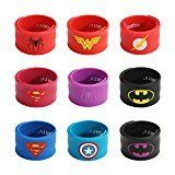 #2: Ecparty Superhero Slap Bracelet for Kids Boys & Girls Birthday Party Supplies Favors (9 pack)