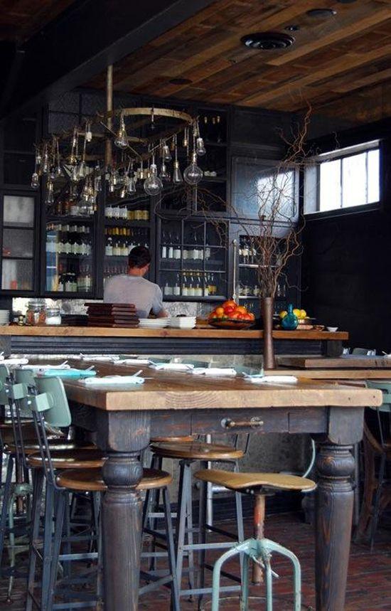 Restaurant GjelinaLights Fixtures, S'Mores Bar, Cafes, Restaurants Ideas, Interiors Design, Design Bedrooms, Wood Ceilings, Los Angels, Rustic Bar
