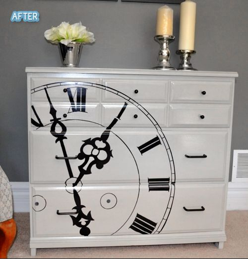 Plain black dresser turned to this!  She hand drew that clock with a sharpie.  WOAH TIME.  But just painting it white and adding new hardware looks great.  // Better After: Tick Tock Ya Don't Stop