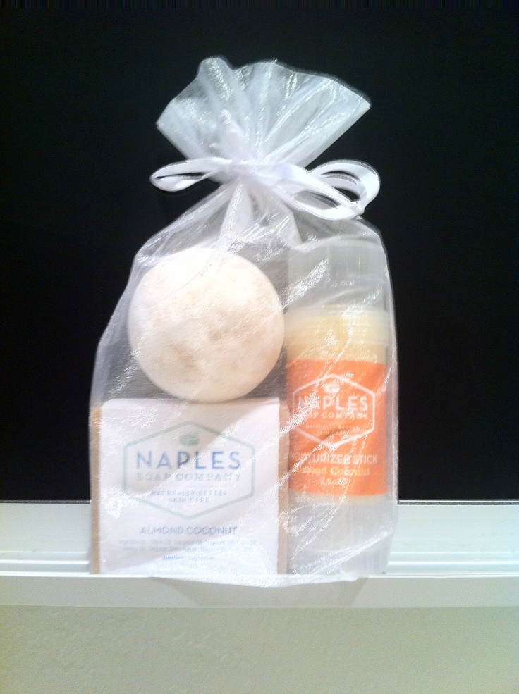 A perfect gift for a dinner party, wine tasting, or simple thank you...the Naples Soap Company Trio gift set. (1 bath bomb, 1 moisture stick, 1 olive oil soap)