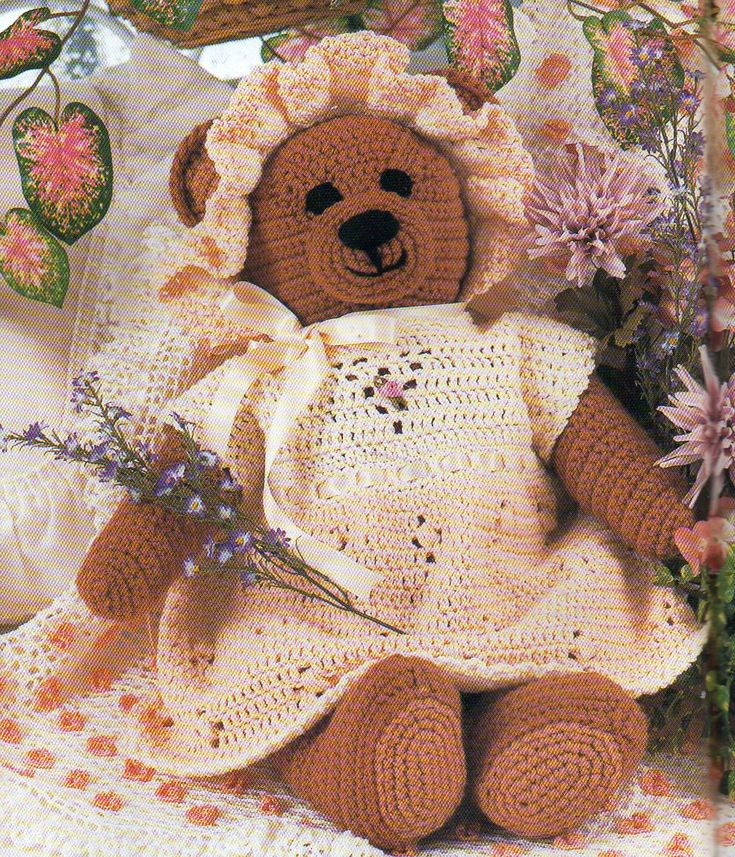 Large Teddy Bear Crochet Pattern With Dress And Frilly Bonnet Huge 20 Inches Tall Crochet Pattern PDF Instant Download (4.99 USD) by PatternMuseum