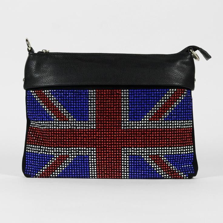 Pochette noire drapeau Grande-Bretagne en strass