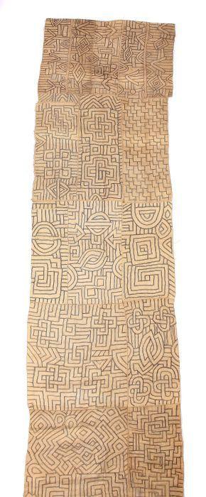 Tanzkleid D.R. Kongo, KünstlerInnen der Bakuba. Raffia gewoben und bestickt, rechteckige Stoffbahn mit variierenden, geometrischen Applikationen, aus mehreren Teilen zusammengenäht, LxH: ca. 300/86 cm. Altersspuren, min. Gebrauchsspuren.