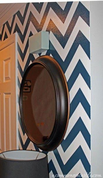 Chevron wall tutorial for downstairs half bathroom! Yes @Lauren Davison Lavine you're helping me! ;)