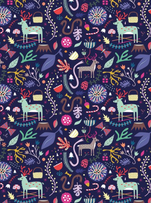 Sarah Andreacchio, an expat illustrator who lives in France with her Parisian-born husband, Emmanuel Kerner (also an illustrator), has created a new pattern for Christmas!