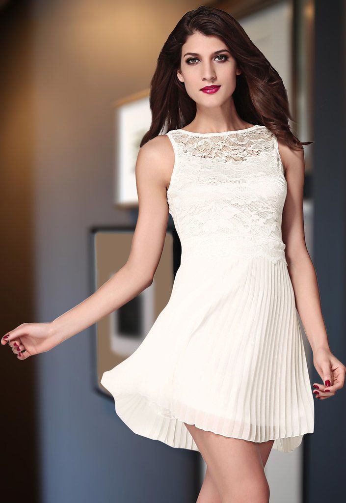 Robes Robe Patineuse Pure Blanc Lace Avec Jupe Plissee