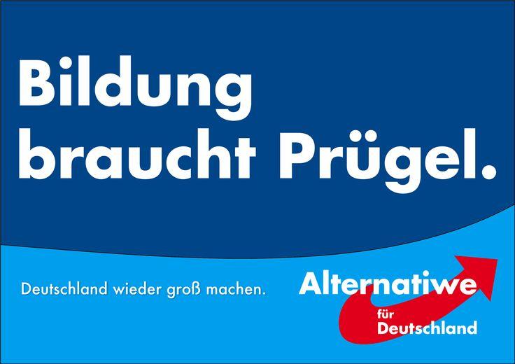 """Die AfD will wieder mehr preußische Disziplin in deutschen Schulen. Um solche Tugenden zu vermitteln, bedarf es Autorität, weshalb die Stellung des Lehrers auch und gerade schulrechtlich zu stärken ist."""" (Wahlprogramm Sachsen-Anhalt, S.14)."""