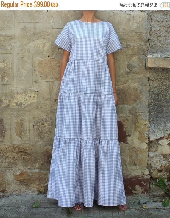 SALE ON 20 % OFF Grey Maxi Dress/ Long dress/ Boho dress/ Maxi