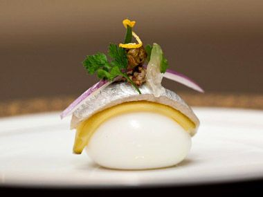 cool. Next: Quail egg & anchovy [notes to self: love the composition... sous vide an egg and create a hollandaise gel + chunk of pork belly?]