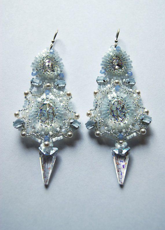 Earrings White lake woven earrings handmade by LoveBeadJewerly