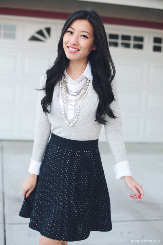 Extra Petite Styles Ann Taylor Dot Sweater Skirt for a day at the office