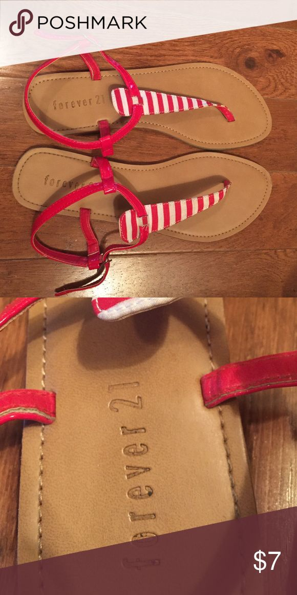 Forever 21 Red White Stripe Thong Sandals 7 These are a pair of thong sandals from Forever 21 that have white and red sailor stripes on them. They've only been worn like 3 times so they're in great condition. They're a size 7 and they're honestly just too big for me. I usually wear a 6. Also on ♍️ercari Forever 21 Shoes Sandals
