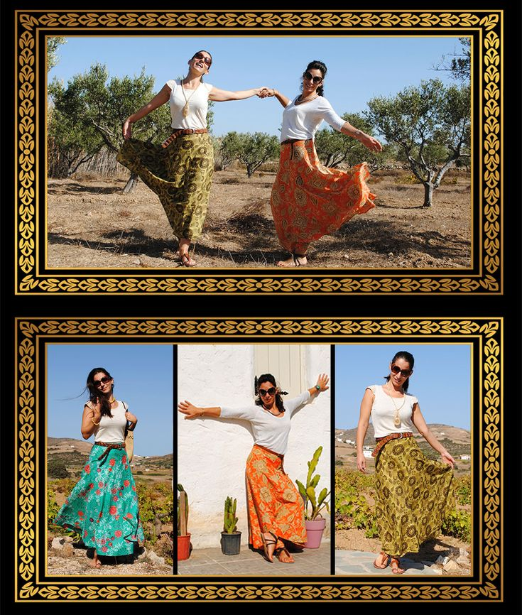 Woman Skirt. Green, Orange, Yellow. Flowery print