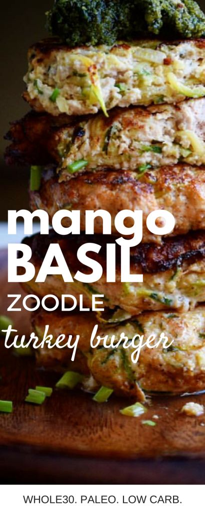 Basil Mango Zoodle Turkey Burgers (Whole30, Paleo!) – Castaway Kitchen