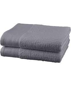 ColourMatch Pair of Bath Towels - Flint Grey.