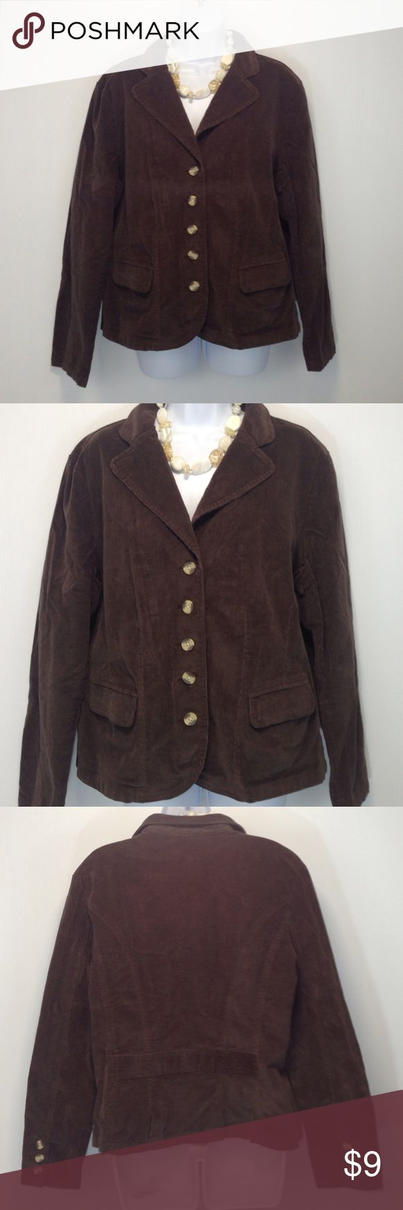 St. John's Bay Stretch Cotton Corduroy Blazer Super cute! St. John's Bay Stretch Blazer. It is a size XL and is very true to fit. It has faux wood buttons on the front closure and sleeves. The necklace can be seen in an alternate listing. St. John's Bay Jackets & Coats Blazers