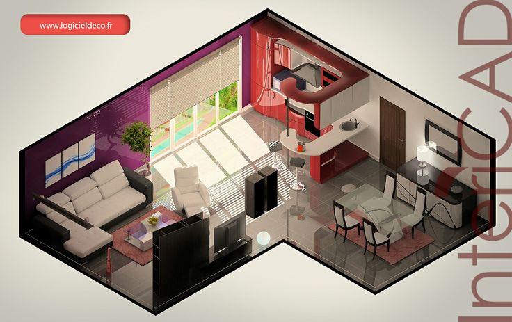 Plan 3D réalisé avec InteriCAD.  Logiciel 3D: www.logicieldeco.fr