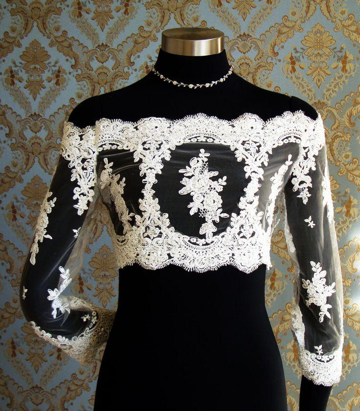 Hottest Off-Shoulder French & Irish Lace Bridal Bolero Jacket by IHeartBride Adelaide Eiyani
