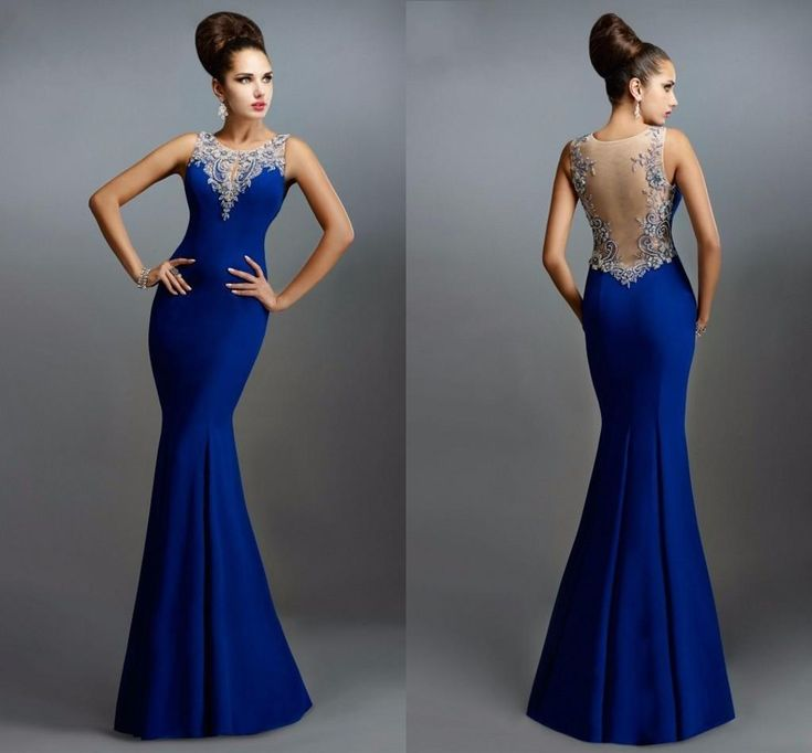 2015 Sexy Elegant Long Janique Mermaid Sheer See Through Prom Back Lace Appliques Royal Blue Evening Dress Cinderella Prom Dresses Design Your Own Prom Dress From Marryme1, $82.92| Dhgate.Com