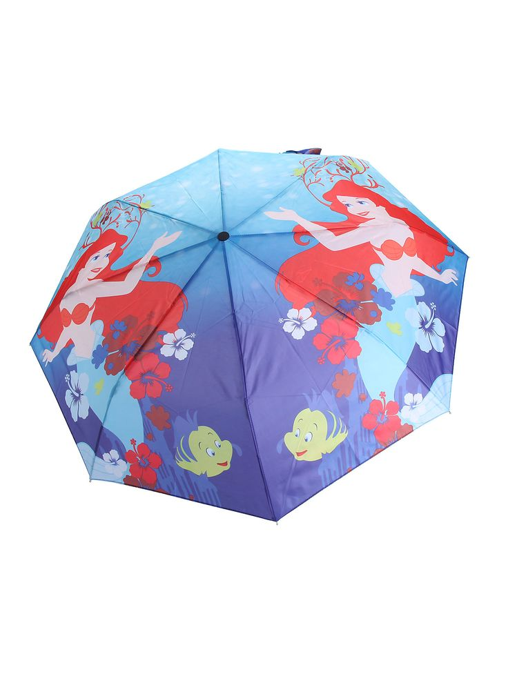 <p>Compact umbrella from Disney's <i>The Little Mermaid</i> with Ariel under the sea print design.</p>  <ul> 	<li>Imported</li> </ul>