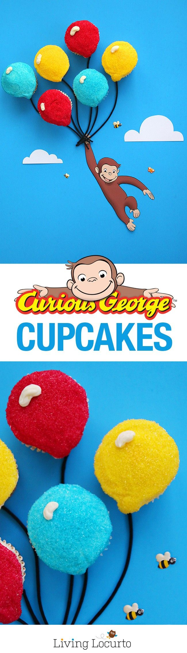 How to make the cutest Curious George Balloon Cupcakes! Click to get the recipe directions and free printable monkey to prepare this adorable cake party idea for your birthday or school class parties. Cute fun food Curious George party idea for kids! You can watch all 9 seasons of Curious George on Hulu. It's my favorite kids show! Cupcakes by LivingLocurto.com #CuriousGeorgeonHulu ad: