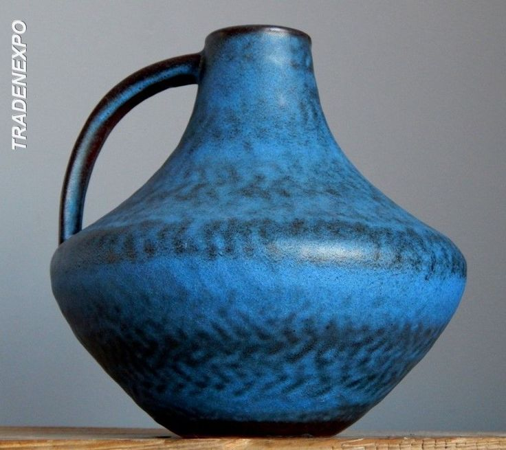 Vintage 60-70's CARSTENS Blue Vase Gerda Heuckeroth W.German Pottery Fat Lava E