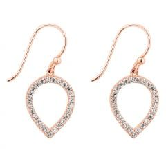 Rose gold plated sterling silver pave teardrop earring