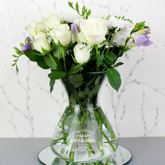 Personalised Classic Glass Vase - This lovely shaped Personalised Classic Glass Vase is ideal for a bouquet of flowers!