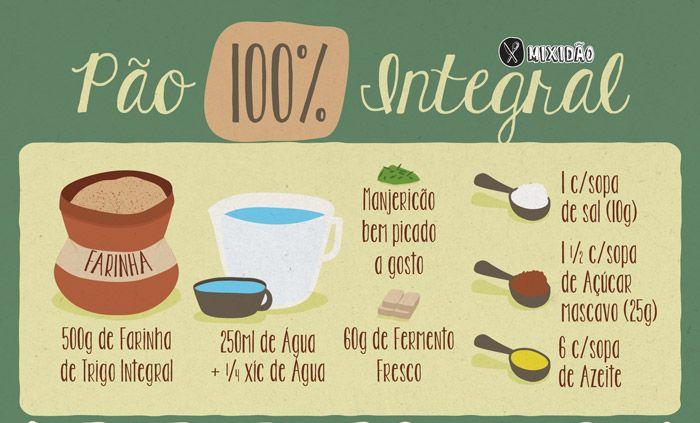 Receita-ilustrada 181: Pão 100% Integral com manjericão. Ingredientes: Farinha integral, água, açúcar mascavo, sal, azeite, fermento biológico e manjericão