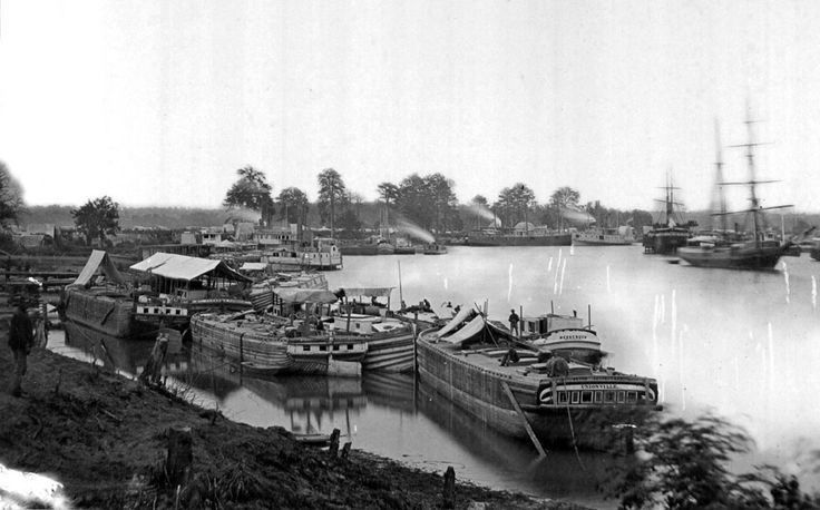 White House Landing, on the Pamunkey river, Virginia. The site was a major Union Army Supply Base in 1862, during the Peninsula Campaign.