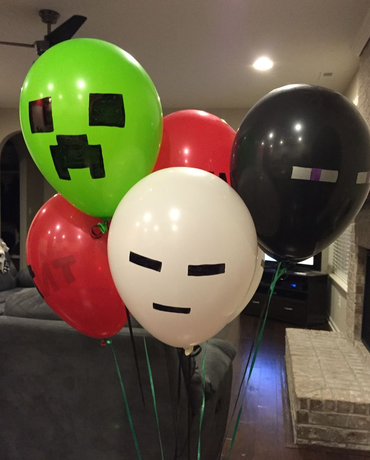 Minecraft balloons, just draw on the faces of the characters with a sharpie