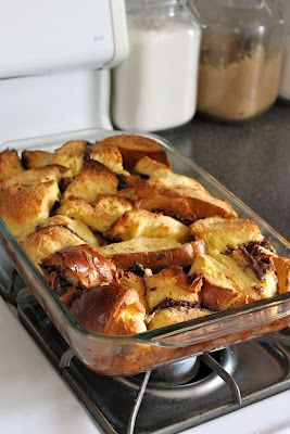 Overnight Nutella French Toast    (Next time, use sweet bread, and dunk the sandwiches for a bit longer)