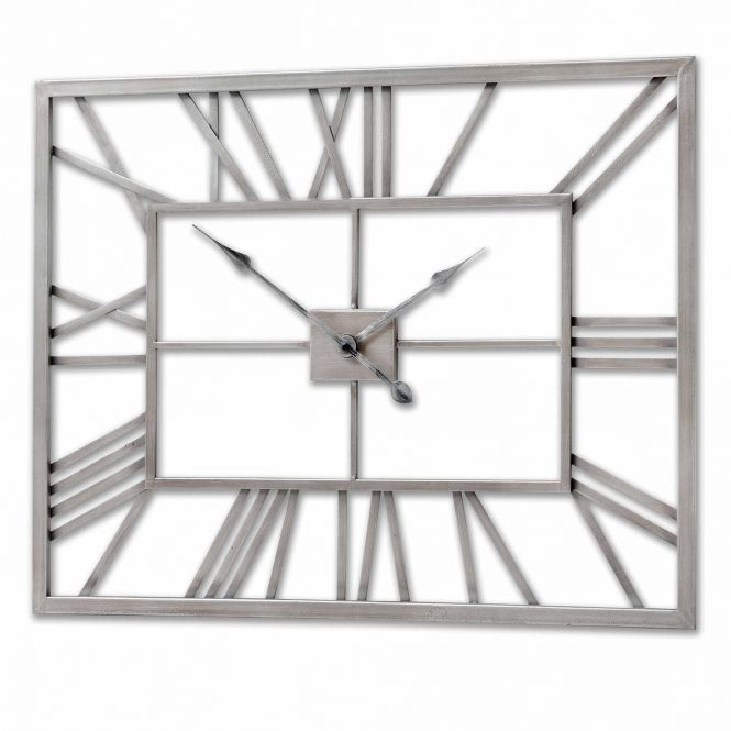 Silver Metal Frame Rectangular Wall Clock Rectangular Living Rooms Wall Clock Hill Interiors