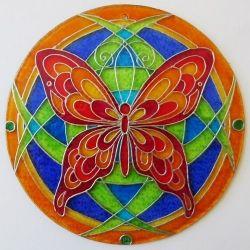 """Ručně malovaná vitráž - """"Motýl"""" (kruh 15 cm)  Hand Painted Stained Glass"""