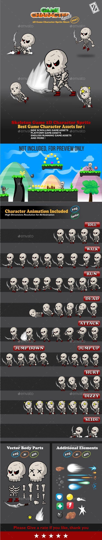 Skeleton Game 2D Character Sprite - Sprites #Game Assets Download here: https://graphicriver.net/item/skeleton-game-2d-character-sprite/20214445?ref=alena994