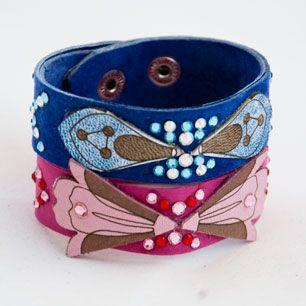 Leather bracelet  #fuchsia #pink #aquamarine #blue #stackable #hip #laser