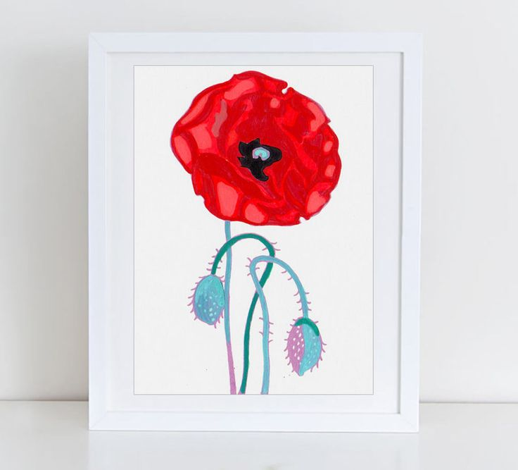 Poppies flowers art print - floral print - botanical artwork - Poppy art - floral art - Poppy print - floral wall decor - poppy wall art by komarovart on Etsy