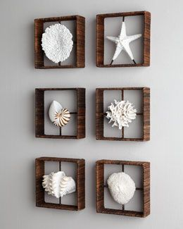 #Horchow -3NHL Faux Coral Shadowboxes. Perfect for the beachy bedroom I love.