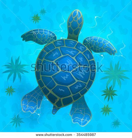 cartoon vector blue sea turtle under water. Top view ...
