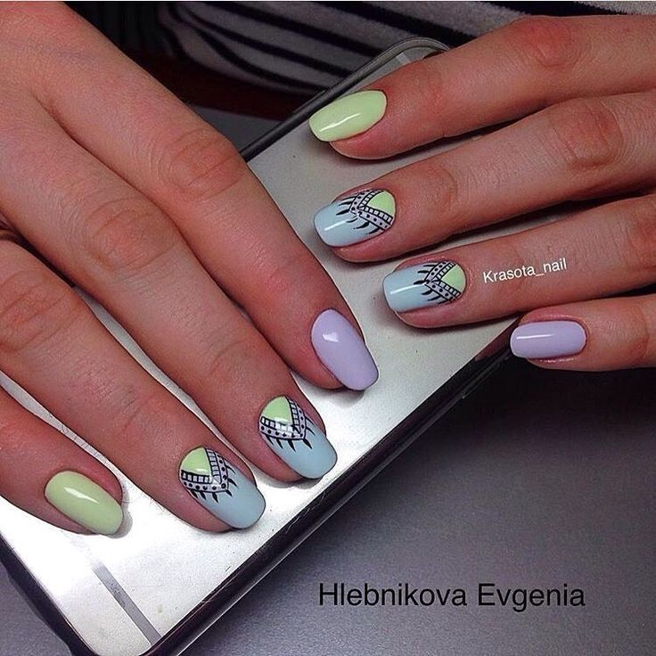 Beautiful nail colors, Blue summer nails, Fashion nails 2017, Lilac nails, Lime summer nails, Nails ideas 2017, Nails with black pattern, Pastel nails