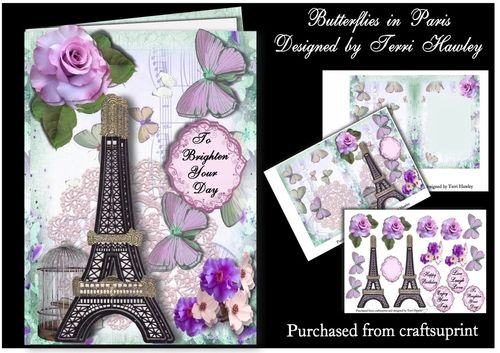 A very pretty card that can be used for many reasons. It has 4 labels and a a blank.Happy Birthday.Live Laugh Love .enjoy your trip.To brighten your day.This card has butterflies and lilac roses, and a Eiffel tower.this kit also has a insert and 3D parts to decorate your card.