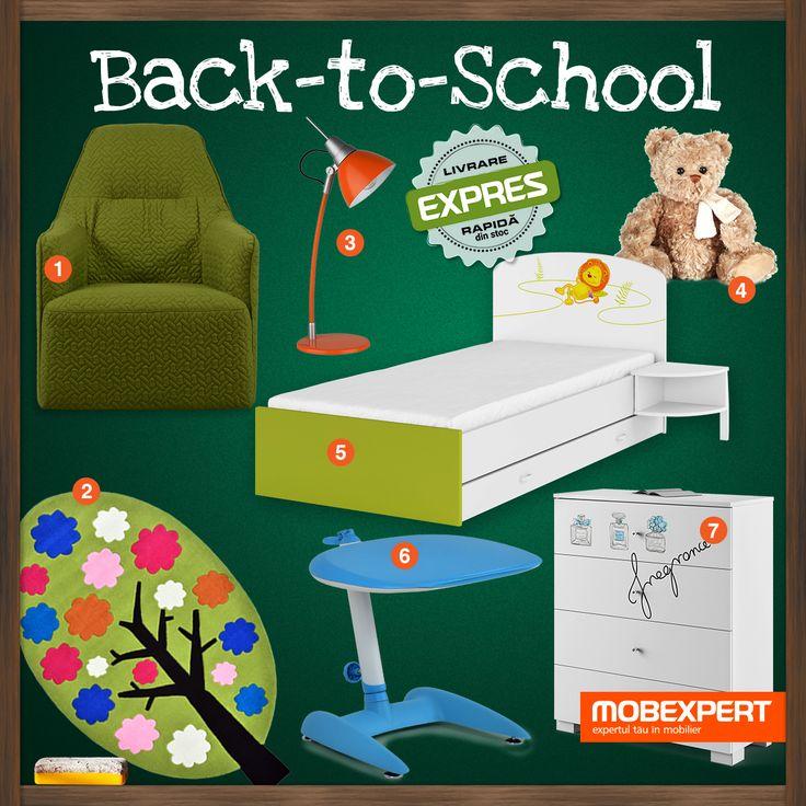 Mobilier și decorațiuni pentru camera școlarului. 1. Fotoliu stofă Alesis  2. Covor cameră copii Tree  3. Veioză Jenny  4. Jucărie pluș Caesar  5. Pat cu somieră inclusă Happy  6. Birou cu înălțime reglabilă Vince  7. Comodă cu 4 sertare Fancy Mint #decoideea #mobexpert #moodboard #backtoschool