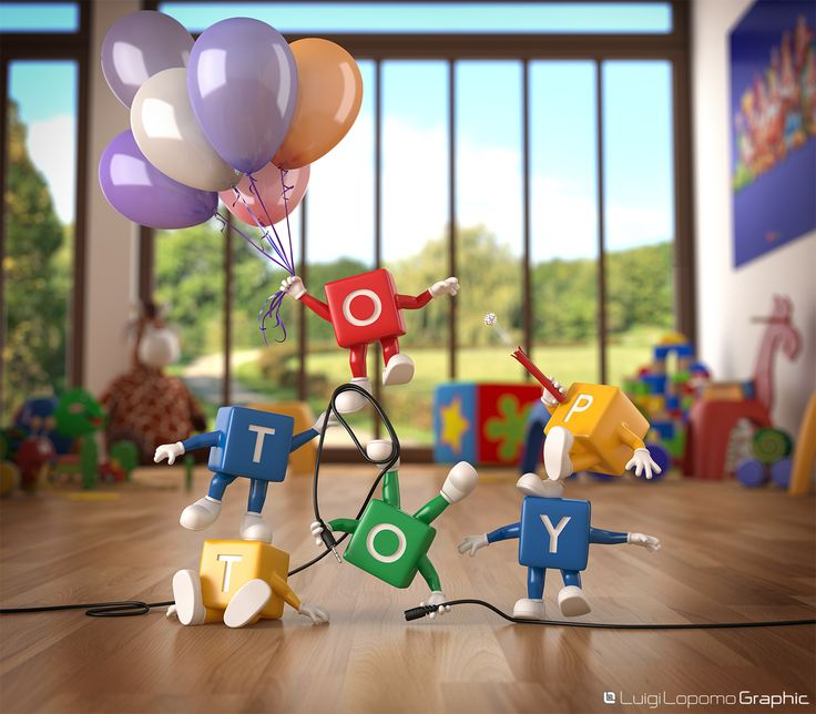 """Top Toy 3d Scene.  Realized as support for the presentation of logo """"Top Toy"""""""
